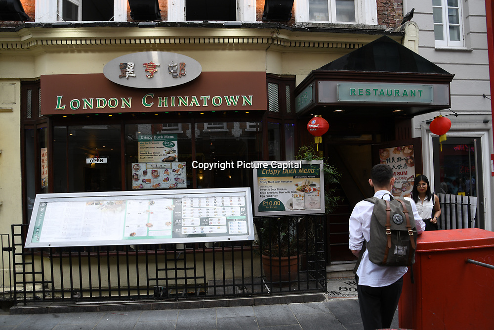 London Chinatown  Chinese restaurants in Chinatown London on July 19 2018, UK