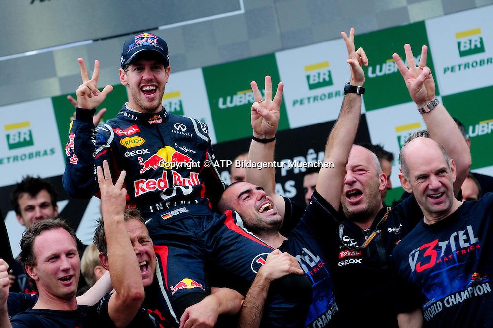 World Champion 2012 - Sebastian VETTEL, Germany, D, Red Bull Racing Renault F1 Team - Celebration - Vettel ist Weltmeister, Jubel - <br /> F1 Grand Prix in BRAZIL, Sao Paulo , Interlagos - Formula One, Formel 1, Weltmeister - Champion du Monde  Formule 1 - race  - fee liable image - Photo Credit: &copy; ATP / BAIRROS Duda