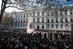© Licensed to London News Pictures. 13/11/2016. London, UK.  Members of the Royal family and politicians attend a Remembrance Day Ceremony at the Cenotaph war memorial in London, United Kingdom, on November 13, 2016 . Thousands of people honour the war dead by gathering at the iconic memorial to lay wreaths and observe two minutes silence. Photo credit: Ben Cawthra/LNP