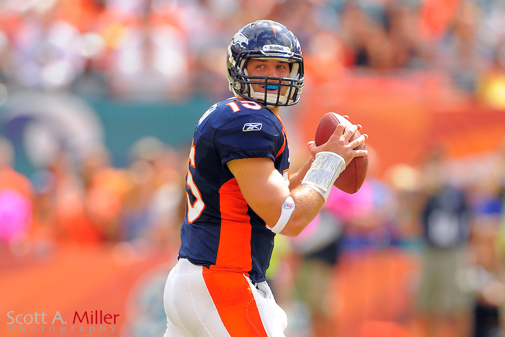 Denver Broncos quarterback Tim Tebow (15) during the Broncos 18-15 overtime win against the Miami Dolphins at Sunlife Stadium on Oct. 22, 2011 in Miami Gardens, Fla.  ...(SPECIAL TO FOXSPORTS.COM/Scott A. Miller)