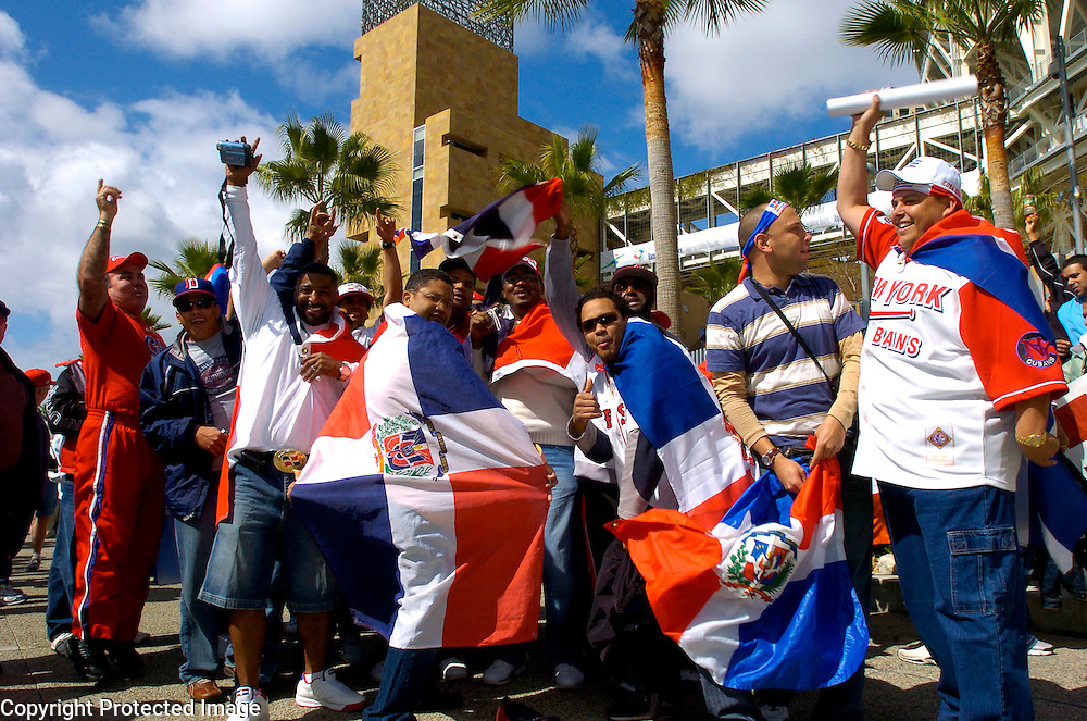 Dominican Republic fans show their support before the start of the game against Team Cuba in Semi-Final action of the World Baseball Classic at PETCO Park, San Diego, CA.