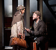 Ragtime <br /> Book by Terrence Mcnally <br /> Music by Stephen Flaherty <br /> Lyrics by Lynn Ahrens<br /> at Charing Cross Theatre <br /> Press photocall<br /> 14th October 2016<br /> directed by Thom Sutherland <br /> <br /> <br /> <br /> <br /> Riya Vyas as Little Girl <br /> Gary Tushaw as Tateh <br /> <br /> Photograph by Elliott Franks <br /> Image licensed to Elliott Franks Photography Services