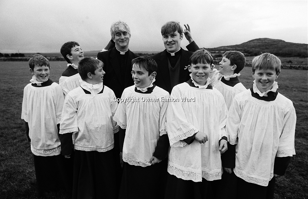 Actors and Extras on the set of Fr Ted ,the Channel 4 comedy staring Dermot Morgan which was filmed near Kilnaboy ,Co Clare...Photograph by Eamon Ward Freelance /The Clare People....(Highest Quality Digital File will be available if Chosen for Book)....