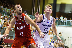 Luka Doncic of Slovenia and Toth Norbert of Hungary during friendly basketball match between National teams of Slovenia and Hungary on day 1 of Adecco Cup 2017, on August 4th in Arena Tabor, Maribor, Slovenia. Photo by Grega Valancic/ Sportida