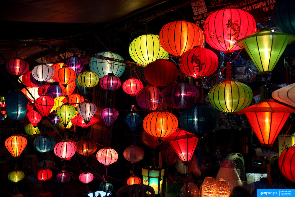 Hand made lanterns for sale in Hoi An, Vietnam. Hoi An is an ancient town and an exceptionally well-preserved example of a South-East Asian trading port dating from the 15th century. Hoi An is now a major tourist attraction because of its history. Hoi An, Vietnam. 5th March 2012. Photo Tim Clayton