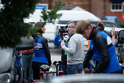 Lisa Brennauer (GER) of WNT Rotor Pro Cycling gives an interview before Stage 3 of 2019 OVO Women's Tour, a 145.1 km road race from Henley-on-Thames to Blenheim Palace, United Kingdom on June 12, 2019. Photo by Balint Hamvas/velofocus.com