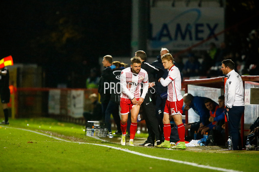 the Stevenage sideline during the EFL Sky Bet League 2 match between Stevenage and Coventry City at the Lamex Stadium, Stevenage, England on 21 November 2017. Photo by Matt Bristow.