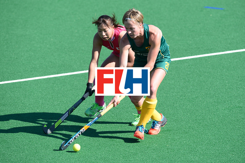 JOHANNESBURG, SOUTH AFRICA - JULY 22: Nicolene Terblanche of South Africa tackled by Yukari Mano of Japan during day 8 of the FIH Hockey World League Women's Semi Finals 5th-6th place match between Japan and South Africa at Wits University on July 22, 2017 in Johannesburg, South Africa. (Photo by Getty Images/Getty Images)