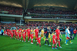 ADELAIDE, AUSTRALIA - Monday, July 20, 2015: Liverpool's captain Jordan Henderson leads his side out to face Adelaide United during a preseason friendly match at the Adelaide Oval on day eight of the club's preseason tour. (Pic by David Rawcliffe/Propaganda)