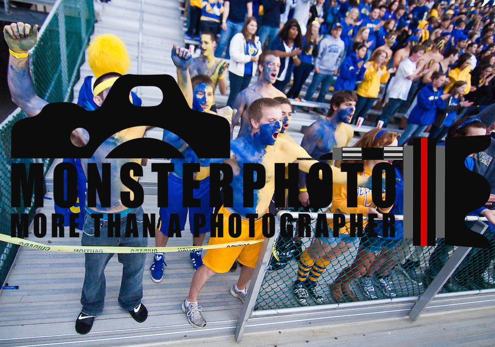 Fan in the student section ready  a Week 3 NCAA football game against Delaware State. ..Delaware defeated Delaware State 45-0 in front of 22,000 fans at Delaware Stadium Saturday Sept. 17, 2011 in Newark DE...Delaware will return home Sept. 24, 2011 for a Colonial Athletic Association showdown with Old Dominion at 12:pm at Delaware Stadium. ..Delaware state will hit the road for two game at Orangeburg South Carolina and at Tallahassee, Florida before returning home Saturday, October. 8, 2011 to face Norfolk State. ..(Monsterphoto/Saquan Stimpson)