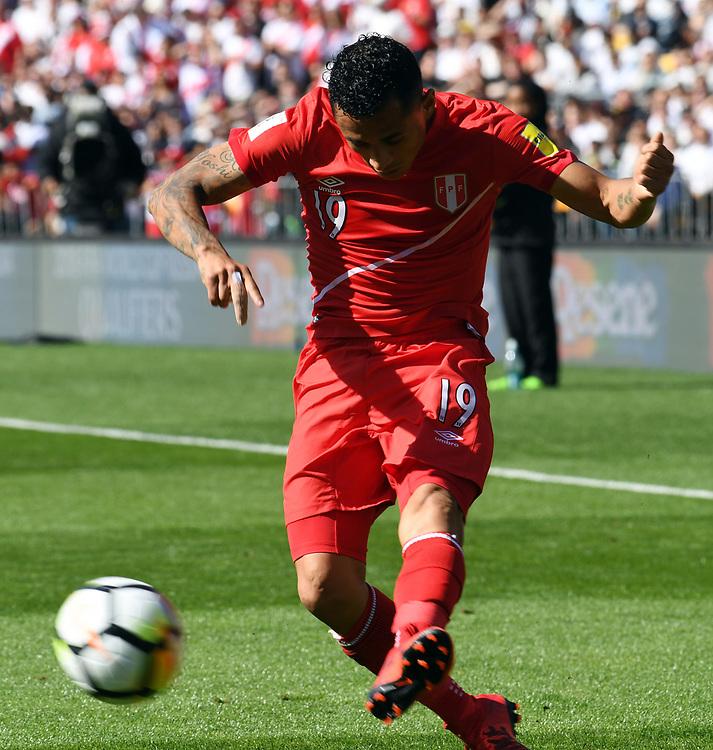 Peru's Yoshimar Yotun against New Zealand in the Soccer World Cup qualifying match, Westpac Stadium, Wellington, New Zealand, Saturday, November 11, 2017. Credit:SNPA / Ross Setford  **NO ARCHIVING**