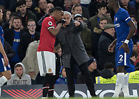 Football - 2017 / 2018 Premier League - Chelsea vs Manchester United<br /> <br /> Jose Mourinho, Manager of Manchester United, gives instructions to Anthony Martial (Manchester United) at Stamford Bridge <br /> <br /> COLORSPORT/DANIEL BEARHAM