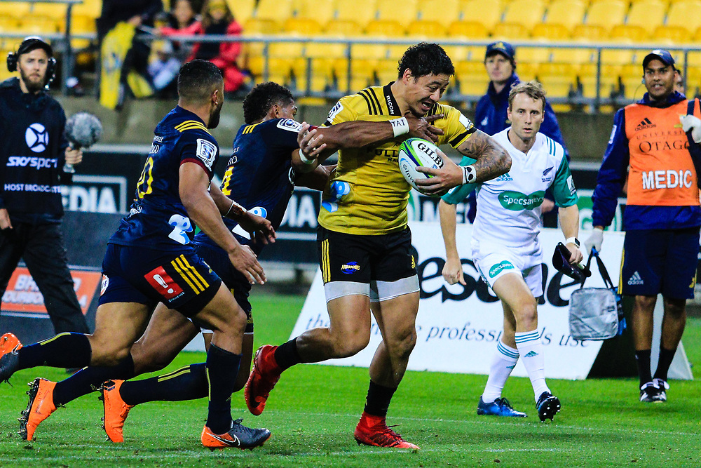 Ben Lam during the super rugby union  game between Hurricanes  and Highlanders, played at Westpac Stadium, Wellington, New Zealand on 24 March 2018.  Hurricanes won 29-12.