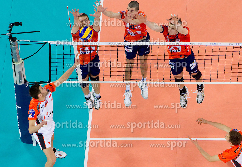 Vlado Petkovic, Milan Rasic and Vid Jakopin of ACH during volleyball match between ACH Volley (SLO) and Jastrzebski Wegiel (POL) in 6th Round of 2011 CEV Champions League, on January 12, 2011 in Arena Stozice, Ljubljana, Slovenia. (Photo By Vid Ponikvar / Sportida.com)