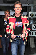 23.MARCH.2011. LONDON<br /> <br /> DAVID HASSELHOFF LEAVING THE RADIO 1 STUDIOS WEARING A UNION JACK JACKET AFTER MAKING A GUEST APPEARANCE ON THE RADIO SHOW IN CENTRAL LONDON<br /> <br /> BYLINE: EDBIMAGEARCHIVE.COM<br /> <br /> *THIS IMAGE IS STRICTLY FOR UK NEWSPAPERS AND MAGAZINES ONLY*<br /> *FOR WORLD WIDE SALES AND WEB USE PLEASE CONTACT EDBIMAGEARCHIVE - 0208 954 5968*