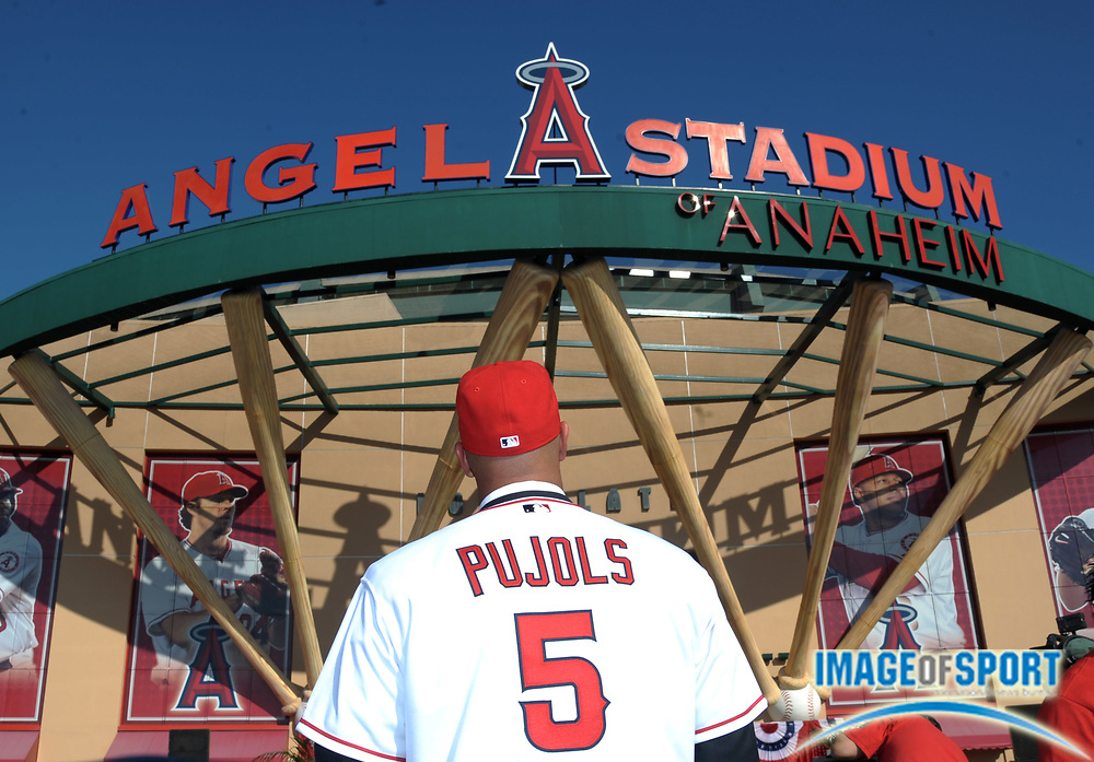 Dec 10, 2011; Anaheim, CA, USA; Los Angeles Angels first baseman Albert Pujols (5) at press conference at Angel Stadium.