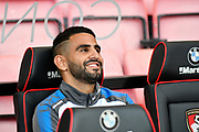 Riyad Mahrez (26) of Leicester City on the bench before the Premier League match between Bournemouth and Leicester City at the Vitality Stadium, Bournemouth, England on 30 September 2017. Photo by Graham Hunt.