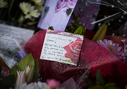 "© Licensed to London News Pictures. 04/04/2018. London, UK. A note on flowers reading ""Rest up Sis"", left on Chalgrove Road, Tottenham, north London, the scene where 17 year old Tanesha Melbourne, was shot dead on Monday. A recent spree of killings in the capital has taken the murder toll for the year so far to 48. Photo credit: Ben Cawthra/LNP"