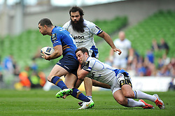 Rob Kearney of Leinster is tackled by Micky Young of Bath Rugby - Photo mandatory by-line: Patrick Khachfe/JMP - Mobile: 07966 386802 04/04/2015 - SPORT - RUGBY UNION - Dublin - Aviva Stadium - Leinster Rugby v Bath Rugby - European Rugby Champions Cup