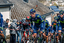 Peloton with riders of Movistar Team during the UCI WorldTour 103rd Liège-Bastogne-Liège from Liège to Ans with 258 km of racing at Cote de Saint-Roch, Belgium, 23 April 2017. Photo by Pim Nijland / PelotonPhotos.com | All photos usage must carry mandatory copyright credit (Peloton Photos | Pim Nijland)