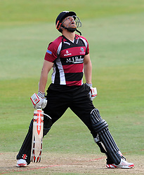 Dejection for Somerset's James Hildreth after being dismissed. - Photo mandatory by-line: Harry Trump/JMP - Mobile: 07966 386802 - 03/07/15 - SPORT - CRICKET - Natwest T20 Blast - Somerset v Gloucestershire - The County Ground, Taunton, England.