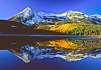 Reflections of 12,432 ft. East Beckwith Mountain in Lost Lake Slough.  West Elk Mountains, Gunnison National Forest, Colorado