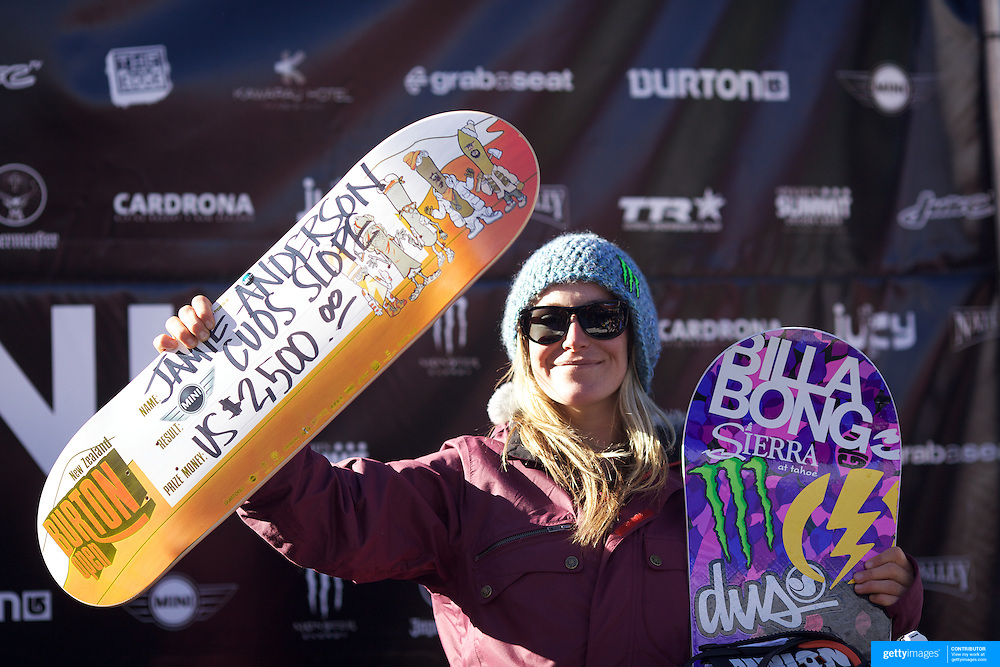Slopestyle winner Jamie Anderson, USA,  during the Women's Slopestyle Finals at the Burton New Zealand Open 2011 held at Cardrona Alpine Resort, Wanaka, New Zealand, 12th August 2011. Photo Tim Clayton