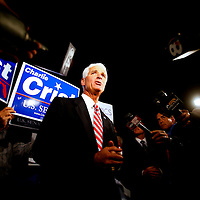 ST. PETERSBURG, FL -- November 2, 2010 -- Senate candidate Gov. Charlie Crist arrives to cast his ballot at the Coliseum in downtown St. Petersburg, Fla., early on the Mid Term Election Day on Tuesday, November 2, 2010.  Crist, who is running as an Independent, is in a three-way race for the seat against Republican Marco Rubio and Democrat Kendrick Meek.