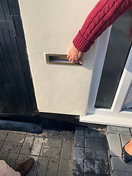 The letterbox where Amazon delivery driver Husam Aljuburi, 29, of Ealing, West London, lost the top quarter of his middle finger after tearing it off in a letterbox as he delivered a parcel at a home in Slough. London, April 09 2019.