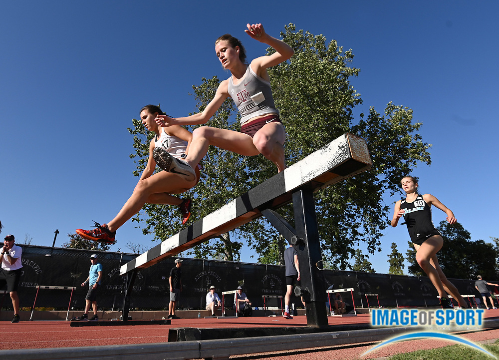 Apr 18, 2019; Azusa, CA, USA; Ashton Hutcherson of Texas A&M hurdles a barrier in the women's steeplechase at the Bryan Clay Invitational at Azusa Pacific University.