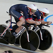 Track Cycling - Olympics: Day 8  The Great Britain team, from right, of Katie Archibald #45, Laura Trott #46, Elinor Barker #189 and Joanna Rowsell-Shand #193 in action while winning the gold medal in the Women's Team Pursuit Final during the track cycling competition at the Rio Olympic Velodrome August 12, 2016 in Rio de Janeiro, Brazil. (Photo by Tim Clayton/Corbis via Getty Images)