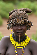 Young Daasanach tribe woman Photographed in the Omo Valley, Ethiopia