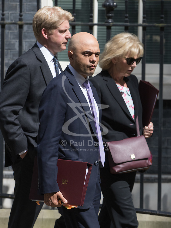 Downing Street, London, May 17th 2016. Jo Johnson Minister of State for Universities and Science (L) leaves the weekly cabinet meeting in Downing Street with State for Business Secretary Sajid Javid and Small Business Minister Anna Soubry.