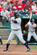 Rey Navarro (1) of the Northwest Arkansas Naturals stands at bat during a game against the Springfield Cardinals at Hammons Field on July 28, 2013 in Springfield, Missouri. (David Welker)