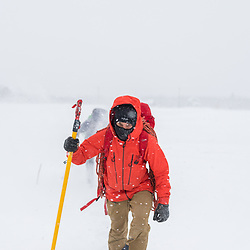 Jeff Mercier approaching Pont-Rouge, Quebec in a snowstorm. He later sent Snowstorm, WI6 M8, named after the fact it was bolted and sent on two different days, both in giant snowstorms.