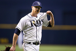 September 16, 2017 - St. Petersburg, Florida, U.S. - WILL VRAGOVIC       Times.Tampa Bay Rays starting pitcher Alex Cobb (53) upset after being pulled from the game in the sixth inning of the game between the Boston Red Sox and the Tampa Bay Rays at Tropicana Field in St. Petersburg, Fla. on Saturday, Sept. 16, 2017. (Credit Image: © Will Vragovic/Tampa Bay Times via ZUMA Wire)