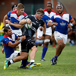 DURBAN, SOUTH AFRICA, 23, April 2016 - Arthur Bouwer ofthe  Windhoek Draught Welwitschias tackling Kerron van Vuuren of the Cell C Sharks XV during the  Currie Cup Qualifiers match between The Cell C Sharks XV vs Windhoek Draught Welwitschias,King Zwelithini Stadium, Umlazi, Durban, South Africa. Kevin Sawyer (Steve Haag Sports) images for social media must have consent from Steve Haag