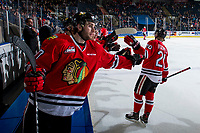 KELOWNA, CANADA - MARCH 3: Joachim Blichfeld #20 of the Portland Winterhawks celebrates a goal against the Kelowna Rockets on March 3, 2019 at Prospera Place in Kelowna, British Columbia, Canada.  (Photo by Marissa Baecker/Shoot the Breeze)