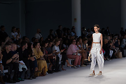 August 28, 2017 - Sao Paulo, Sao Paulo, Brazil - Model presents creation by Osklen, during the Sao Paulo Fashion Week, N44 Summer 2018 edition, in Sao Paulo, Brazil. (Credit Image: © Paulo Lopes via ZUMA Wire)