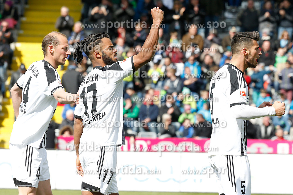 05.04.2015, Scholz Arena, Aalen, GER, 2. FBL, VfR Aalen vs Karlsruher SC, 27. Runde, im Bild Freude ueber das 1:1 bei: Oliver Barth (VFR Aalen), Phil Ofosu-Ayeh (VFR Aalen), Juergen Gjasula (VFR Aalen) // during the 2nd German Bundesliga 27th round match between VfR Aalen and Karlsruher SC at the Scholz Arena in Aalen, Germany on 2015/04/05. EXPA Pictures &copy; 2015, PhotoCredit: EXPA/ Eibner-Pressefoto/ BW-Foto<br /> <br /> *****ATTENTION - OUT of GER*****