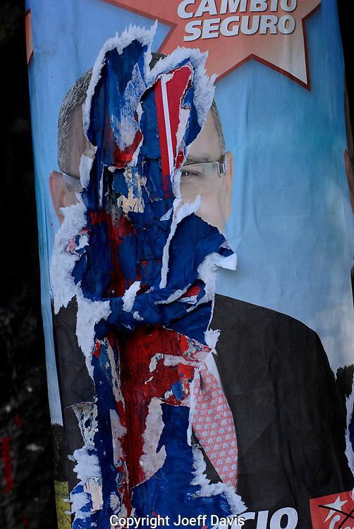 FMLN presidential candidate Mauricio Funes poster, San Salvador, El Salvador, March 13, 2009.