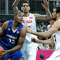 04 August 2012: France Boris Diaw looks to pass the ball during 73-69 Team France victory over Team Tunisia, during the men's basketball preliminary, at the Basketball Arena, in London, Great Britain.