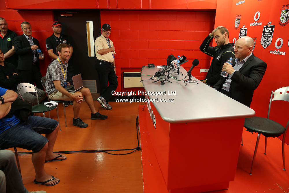 Captain Simon Mannering and Coach Andrew McFadden at the press conference after the NRL Rugby League match between the NZ Warriors and the Parramatta Eels played at Mt Smart Stadium in South Auckland on the 21st March 2015. <br /> <br /> Copyright Photo; Peter Meecham/ www.photosport.co.nz