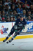 KELOWNA, CANADA - APRIL 30: Aaron Hyman #6 of the Seattle Thunderbirds skates with the puck against the Kelowna Rockets on April 30, 2017 at Prospera Place in Kelowna, British Columbia, Canada.  (Photo by Marissa Baecker/Shoot the Breeze)  *** Local Caption ***
