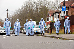&copy; Licensed to London News Pictures.04/04/2018<br /> HITHER GREEN, UK.<br /> Police forensic search team on Further Green Road.<br /> 78 year old man arrested in Hither Green, London after a  burgarly death. police on scene.<br /> Photo credit: Grant Falvey/LNP