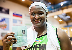 Marie Shante Evans of Slovenia posing with new Slovenian passport after friendly basketball match between Women National teams of Slovenia and Croatia before FIBA Eurobasket Women 2017 in Prague, on June 1, 2017 in Celje, Slovenia. Photo by Vid Ponikvar / Sportida