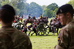 Hyde Park, London, June 10th 2016. As  part of the double celebration of HM The Queen and her Husband HRH Prince Philip, the King's Troop Royal Horse Artillery fire a 41 gun salute in honour of Prince Philip's 95th birthday in London's Hyde Park. PICTURED: The salute now over, the guns are attached to their carriage before withdrawing.
