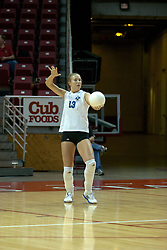 20 November 2004....Megan Veltman readies to serve....Illinois State University Redbirds V Drake Bulldogs Women's Volleyball.  Redbird Arena, Illinois State University, Normal IL