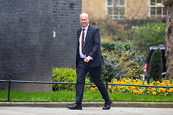 © Licensed to London News Pictures. 12/04/2018. London, UK. Transport Secretary Chris Grayling arriving in Downing Street to attend a 'War Cabinet' meeting this afternoon. Discussion is expected on Britain's involvement on military action in Syria, following a suspected chemical attack. Photo credit : Tom Nicholson/LNP