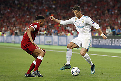 (L-R) Trent Alexander-Arnold of Liverpool FC, Cristiano Ronaldo of Real Madrid during the UEFA Champions League final between Real Madrid and Liverpool on May 26, 2018 at NSC Olimpiyskiy Stadium in Kyiv, Ukraine